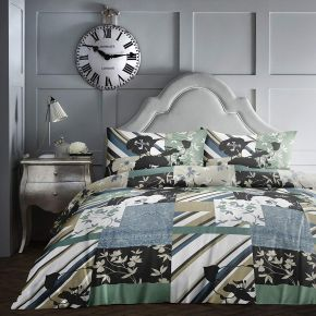 Dreams & Drapes Tile Patchwork Duvet Set Teal