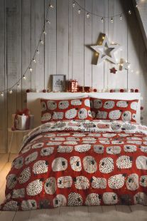 Fusion Dotty Sheep Christmas Duvet Set Red