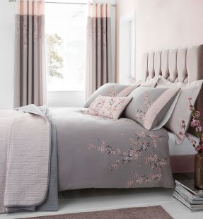 Catherine Lansfield Embroidered Blossom Duvet Set and Accessories