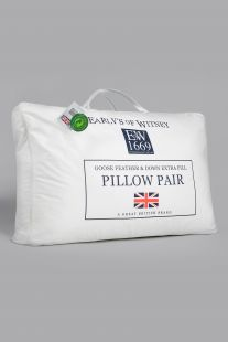 Early's Of Witney Extra-Filled Goose Feather and Down Pillow Pair