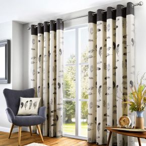 Fusion Idaho Eyelet Curtains Charcoal