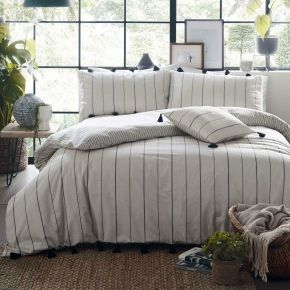 Appletree Delta Stripe 100% Cotton Duvet Set Linen
