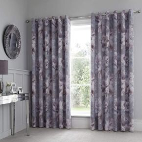 Catherine Lansfield Dramatic Floral Eyelet Curtains Grey