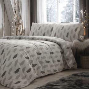Fusion Penguin Silhouette Brushed Cotton Duvet Set Grey