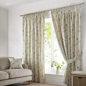 Fusion Meadow Leaves Pencil Pleat Curtains Green