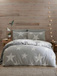 Fusion Cosy Star 100% Brushed Cotton Duvet Set Grey