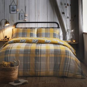 Dreams & Drapes Colville Check Brushed Cotton Duvet Set Ochre