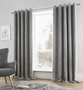 Catherine Lansfield Sherpa Eyelet Curtains Grey