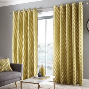 Fusion Dari Eyelet Lined Curtains Ochre