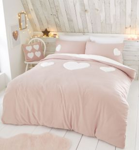 Catherine Lansfield Cosy Heart Duvet Set Blush