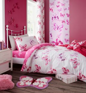 Catherine Lansfield Butterfly Duvet Set Pink