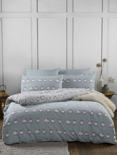 Fusion Country Sheep 100% Brushed Cotton Duvet Set Duck Egg