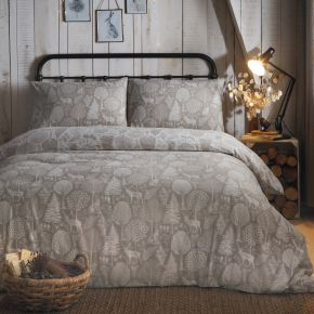 Fusion Winter Forest Brushed Cotton Duvet Set Linen