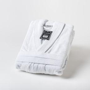 Musbury Fabrics Luxury 450g Velour Soft Touch Bathrobe In White