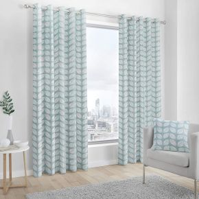 Fusion Delft Eyelet Lined Curtains