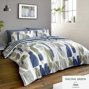 Racing Green Trace Duvet Set Navy & Khaki