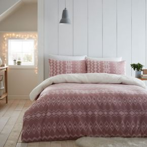 Catherine Lansfield Alpine Fleece Duvet Set Blush