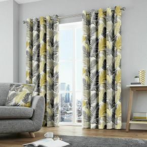 Fusion Tropical Eyelet Curtains Ochre