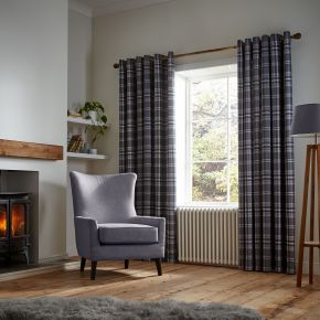 Catherine Lansfield Thermal Woven Check Eyelet Curtains