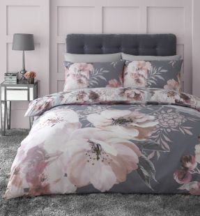 Catherine Lansfield Dramatic Floral Duvet Set Grey