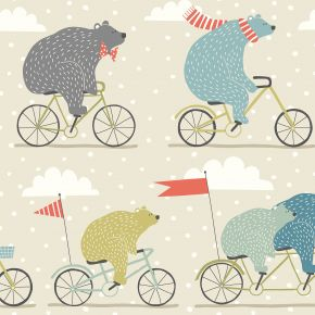 Bear On A Bike PVC Fabric Tablecloth Sage