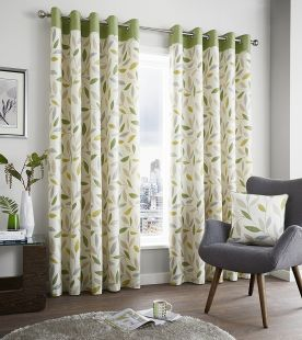 Fusion Beechwod Lined Eyelet Curtains