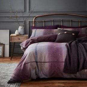 Catherine Lansfield Berwick Tweed Brushed Duvet Set Plum