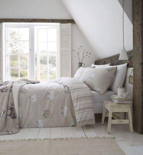 Catherine Lansfield Brushed Cotton Sheep Duvet Set Natural