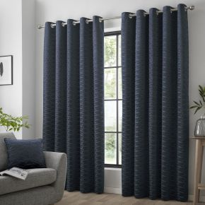Curtina Kendal Eyelet Lined Curtains Navy