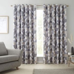 Catherine Lansfield Oslo Geo Eyelet Curtains Natural
