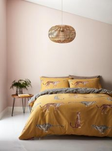 Catherine Lansfield Cheetah Easy Care Duvet Set in Ochre