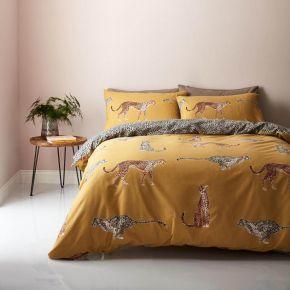 Catherine Lansfield Cheetah Easy Care Duvet Set in Ochre