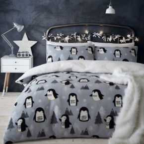 Catherine Lansfield Cosy Penguin Fleece Duvet Set Grey