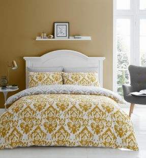 Catherine Lansfield Damask Easy Care Duvet Set in Ochre