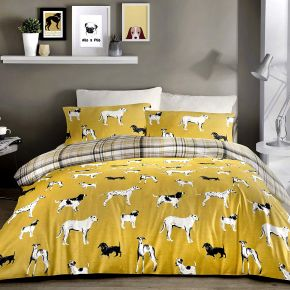 Fusion Dogs Duvet Set In Ochre