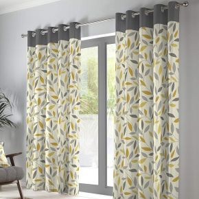 Fusion Beechwood Eyelet Curtains Ochre