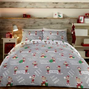 Bedlam Elfie Christmas Duvet Set Grey