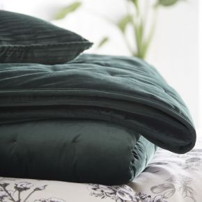 Karen Millen Velvet Quilted Throw Emerald