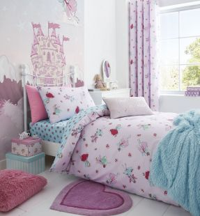 Catherine Lansfield Fairies Duvet Set Pink