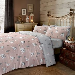 Fusion Fluffy Penguin Brushed Cotton Duvet Set Blush