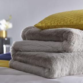 Karen Millen Faux Fur Plush Throw Grey 140/180cm