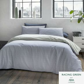 Racing Green Leigh Stripe Duvet Set Navy & Khaki