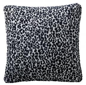 Karen Millen Leopard Chenille Square Cushion Midnight/Dove 43/43cm