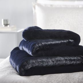 Karen Millen Faux Fur Plush Throw Midnight 140/180cm