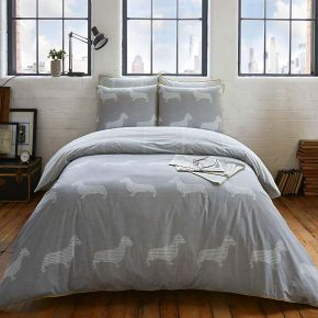 Racing Green Newsprint Easy Care Duvet Cover Set In Grey