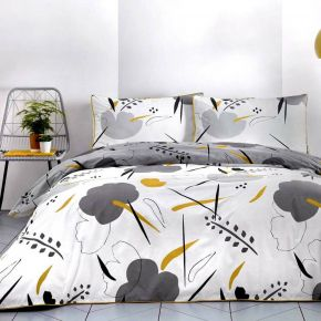 Appletree Raphael 100% Cotton Duvet Cover Set Grey & Ochre