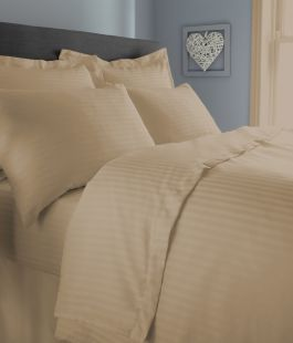 Satin Stripe Percale Duvet Covers and Accessories In Latte