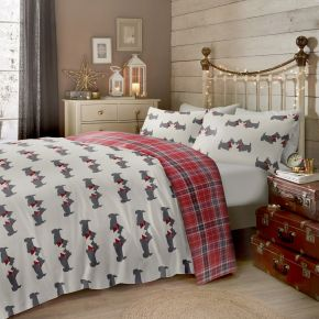 Fusion Scottie Dog 100% Brushed Cotton Duvet Cover Set Multi