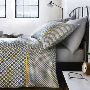 Racing Green Soho Easy Care Duvet Set Grey & Ochre