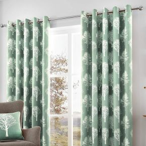 Fusion Woodland Trees Lined Eyelet Curtains